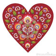 Polish folk design, pattern heart
