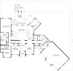 First Floor Plan of Craftsman   European   French Country   House Plan 82164