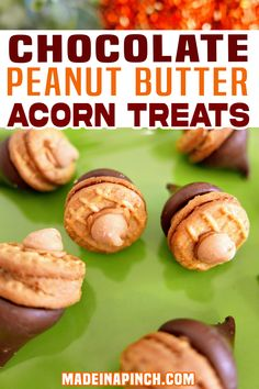 Chocolate Peanut Butter Acorn Treats are the cutest Thanksgiving or Fall snack (or dessert). All they need are a couple of common pantry staples! Once you see how easy these kisses acorn treats are to make, you'll jump all over them too! They're a bit like a DIY Reese's Peanut Butter Cup – only MUCH cuter!   Made in A Pinch @madeinapinch #fallcandy #falltreats #thanksgivingsweettreats #kidshanksgivingtreats #kidsfallactivities #madeinapinch