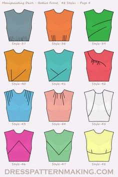 48 Styles for manipulating darts on the Bodice Front. - 48 Styles for manipulating darts on the Bodice Front. Dress Sewing Patterns, Sewing Patterns Free, Sewing Tutorials, Clothing Patterns, Shirt Patterns, Fabric Sewing, Dress Tutorials, Pattern Sewing, Pattern Drafting