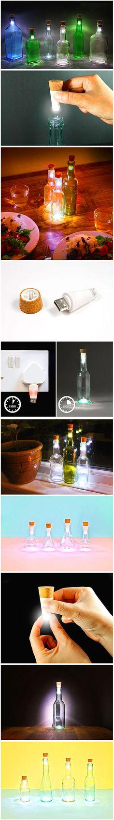 Some of our favorite creative products and inventions are ones that give used objects/trash a second life. The rechargeable bottlelight developed by Suck UK, a home accessory and gift company, turns old empty bottles into beautiful, simple table lamps.