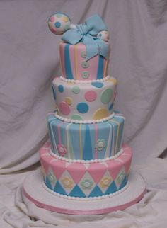 4 tier baby shower - This was not really for a shower, but for the grand re-opening of the OB unit of DH's hospital ( post katrina). I also did 2 double layer half sheets for a toal of 250-300 servings. ( All fondant; rattle is styro balls) ;waiting for him to call to tell me how it went. TFL