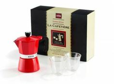 3 Cup Red Espresso and Glasses Gift Set