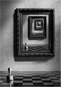 """patriciadamiano: """" Victoria Ivanova To became a queen """" """"Once in the box every one of them is equal - the chess pieces"""" Issa Black White Photos, Black And White Photography, Gilbert Garcin, Bühnen Design, King Design, Photo D Art, Through The Looking Glass, Surreal Art, Still Life"""