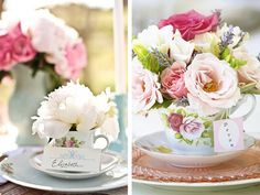 Teacup Centerpiece Ideas | vintage-dish-teacup-flowers-centerpiece-placecard