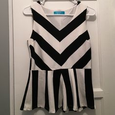 Francesca's Striped Peplum Tank Only worn once! ✨ Purchased at Francesca's ✨ 65% cotton 30% polyester Francesca's Collections Tops Tank Tops