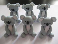 Items similar to 12 Fondant Edible Cupcake toppers - Koala on Etsy Australian Party, Australian Animals, Edible Cupcake Toppers, Fondant Toppers, Australia Cake, Dad Cake, Aussie Christmas, Foundant, Kid Cupcakes