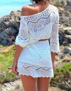 White Hollow Out Women's Cover-Up