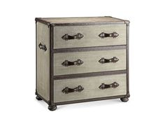 Shop for Stein World Chest, 28422, and other Bedroom Chests and Dressers at Stack Furniture in Olympia, WA. Trunk chest, weathered wood top, three drawers with full extension glides, dovetail construction, canvas with bonded leather handles and trim, individual brass nail details.