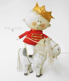 "Textile Atr Doll ""Prince and Pony""   Текстильная кукла ""Принц и пони"