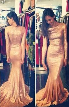 2016 Gold Sequins Prom Dresses Long Sleeves Long Mermaid Evening Gowns