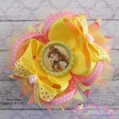 Princess Belle Stacked Boutique Hair Bow