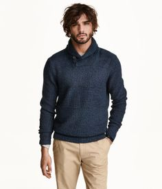 Pattern-knit sweater in cotton with a shawl collar. Buttons at front and rib-knit cuffs and hem.