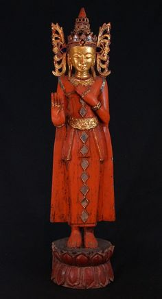 Old Burmese Crowned Buddha from Burma, made from wood