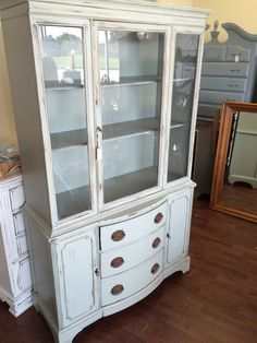 This Is A Darling Duncan Phyfe China Hutch. I Painted It Escape Gray Which  Has
