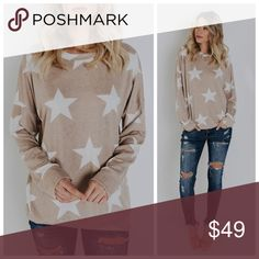 """New Taupe soft star top This top is perfect in this star printed knit layer! We love wearing this on lazy days when you want to roll out of bed and go! So soft in this fabrication!   Crew Neck Made in the US  Not Lined  Size Small: 27"""" from shoulder to hem 70% Polyester, 27% Rayon and 3% Spandex Model is 5'7"""" and wears a Small  PRICE FIRM Danalli Tops"""