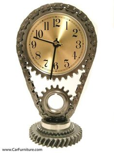 Timing Gear Desk Clock Automotive Steampunk by FrostAutoDecor