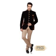 2b913dec367 Golden Brown King style jodhpuri jacket with shimmer collar and pocket with  gold buttons.