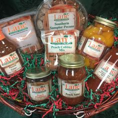 Georgia On My Mind Basket from Lane Southern Orchards - a great gift for the holidays! Fresh from Georgia Peach Preserves, Peach Salsa, Summer Tomato, Vidalia Onions, Georgia On My Mind, Online Gifts, Cobbler, Pecan