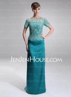 Mother of the Bride Dresses - $162.99 - Sheath Scoop Neck Sweep Train Tulle Charmeuse Mother of the Bride Dress With Lace Beading (008005926) http://jenjenhouse.com/Sheath-Scoop-Neck-Sweep-Train-Tulle-Charmeuse-Mother-Of-The-Bride-Dress-With-Lace-Beading-008005926-g5926