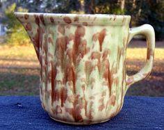 Antique Green  / Brown Spongeware Spatterware Ribbed Pottery Milk Pitcher