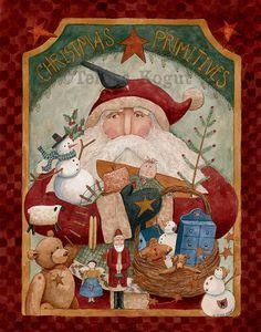 Christmas Primitives 11x14 print on wood by Teresa Kogut available on Etsy