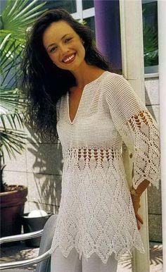 Russian crochet patterns | International Crochet Patterns, White pullover with pineapple motifs