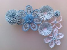 Light blue quilling flowers