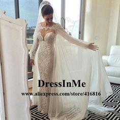 Cheap mermaid wedding dresses, Buy Quality wedding dress directly from China cape wedding dress Suppliers: Long Sleeve 2017 Sheer Back Wedding Gowns Vestidos De Noiva Mermaid Wedding Dresses Robe De Mariee Removable Cape Wedding Dress Wholesale Wedding Dresses, Wedding Dresses For Sale, Country Wedding Dresses, Black Wedding Dresses, Princess Wedding Dresses, Wedding Cape, Wedding Jacket, Bridal Gowns, Wedding Gowns