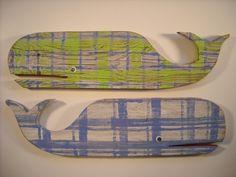 Blue Boys Whales S/2: Beach House Decor, Coastal Decor, Nautical Decor, Coastal Living Boutique, Tropical Decor