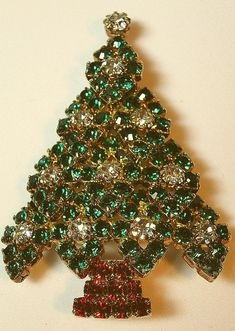 Eisenberg Ice Rhinestone Christmas Tree Brooch/Pin