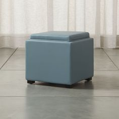 """Stow Ocean 17"""" Leather Storage Ottoman 
