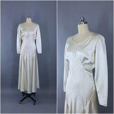 Beautiful ca 1930 Art Deco Rayon Satin Wedding Dress. Includes Slip, Bra and Tap Pants Lingerie Set. ThisBlueBird