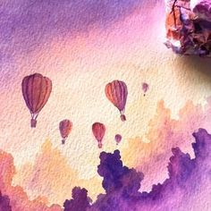 Here is a slower process video focusing on just one of the hot air balloons I made in this painting. All of this is wet on dry, dragging… Watercolor Water, Watercolor Paintings, Watercolours, Balloon Painting, What A Beautiful World, Sketch Painting, Art Graphique, Cool Artwork, Amazing Art