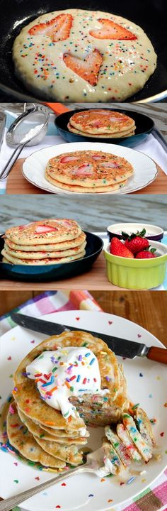 This recipe is for buttermilk breakfast pancakes without a mix. Photos show how you can add fruit and whip cream. Sprinkles optional. Say Happy Birthday! or celebrate a special occasion with this breakfast!