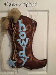 Burlap Cowboy Boot Burlap Door Hanger with Star Howdy