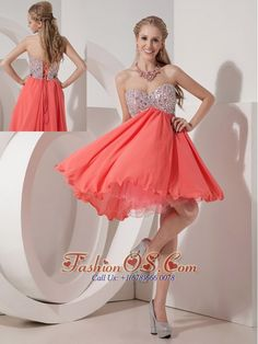Lovely Rust Red Empire Sweetheart Homecoming Dress Organza and Chiffon Beading Mini-length- $108.12  http://www.fashionos.com   | homecoming short prom dress with zipper up | customize short prom dress | plus size junior prom dress | 2013 elegant online prom dress | discount and cheap custom made prom dress |