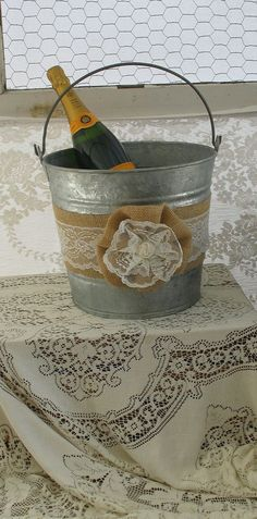 Champagne Bucket for Rustic Burlap and Lace Wedding Country Shabby Chic Wedding. $45.00, via Etsy.