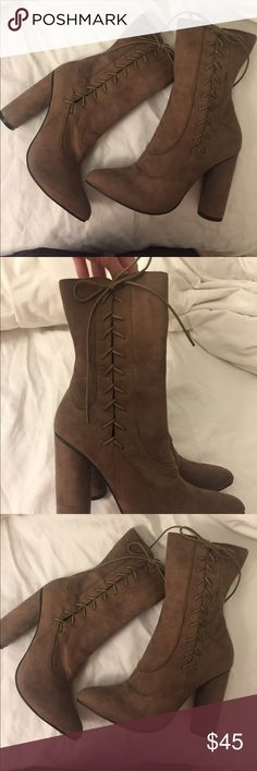 Lace Up Booties 🌟 New with box! Faux suede material with lace Up detailing on the sides and zippers on the insides. Thick round heel and pointy toe! Super comfy to walk in! Cape Robbins Shoes Heeled Boots