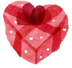 ハート型ギフトボックスのバレンタインデーのイラスト
