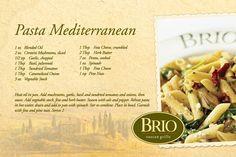 Copycat Recipe...Brio's Pasta Mediterranean
