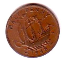 George Vl Half Penny Coin 1948 Good condition