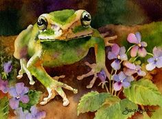 awe :) so cute .Susan Crouch - Little Green Frog Watercolor Art Watercolor, Watercolor Animals, Frog Art, Animal Paintings, Painting Inspiration, Pet Birds, Painting & Drawing, Amazing Art, Illustrators