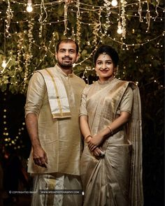 All The Colour Coordinated Outfit Inspiration You Need- Muhurtham Edition! Engagement Dress For Groom, Couple Wedding Dress, Engagement Dresses, Christian Wedding Sarees, Christian Bride, Wedding Sari, Wedding Bells, Golden Saree, Wedding Saree Blouse Designs