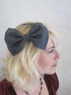 Large Grey Bow Hair Clip $14.00