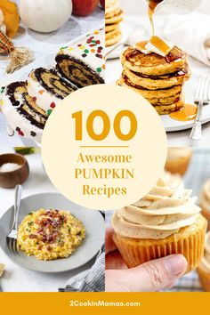 Here's to fall and holiday time with a roundup of 100 awesome pumpkin recipes. Pumpkin flavors everything from pancakes to breads, cakes to cookies, main dishes to sides and everything in-between. You're going to want to try them all! #pumpkinrecipes #fallrecipes #pumpkinroundup #thanksgiving #pumpkinpancakes #pumpkinpies #pumpkindesserts via @2CookinMamas Gluten Free Pumpkin, Vegan Pumpkin, Pumpkin Recipes, Apple Recipes, Fall Recipes, Sweet Recipes, Apricot Recipes, Thanksgiving Recipes, Baking Recipes