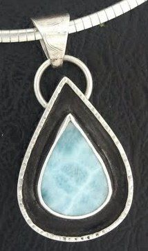 Larimar with blackened silver pendant.  The black really popped the stone.