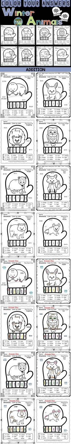 Winter Math: Winter Fun! The Mitten Winter Animals Addition Facts - Color Your Answers Printables for Winter Addition, perfect for winter time in your classroom. A perfect way to incorporate your math lesson into your thematic unit when you are reading Jan Brett's The Mitten. EIGHT worksheets and all EIGHT answer keys! #TpT #FernSmithsClassroomIdeas #TheMitten $paid