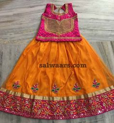 Orange Heavy Border Lehenga - Indian Dresses