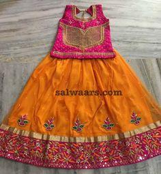 Orange Heavy Border Lehenga - Indian Dresses